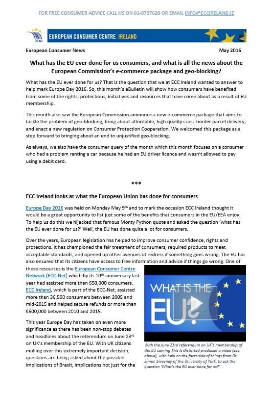 ECC Ireland May 2016 ebulletin consumer rights geo-blocking