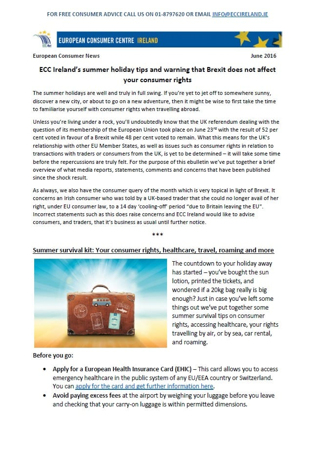 ECC Ireland's June 2016 eBulletin focusing on summer holiday survival tips and your consumer rights during Brexit