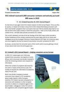ECC Ireland August 2016 ebulletin 2015 annual report
