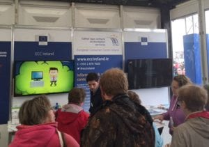 ECC Ireland adviser Donal Feehan answering consumer questions at the EU stand.