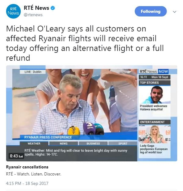 Michael O'Leary Ryanair cancellations